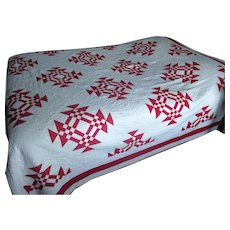 """Vintage Red & White """"Goose In the Pond"""" Quilt"""