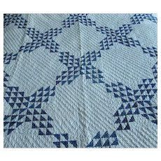 "Antique Blue & White Calico ""Ocean Waves"" Quilt"
