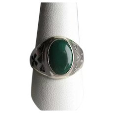 Native American Navaho Silver & Malachite Ring
