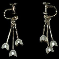 Scandinavian Silver and White Enamel Lily of the Valley Earrings