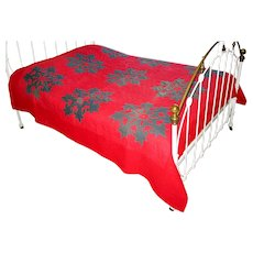 Antique Applique Red and Green Snowflake Quilt