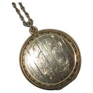 Vintage Gold-Filled Round Locket & Chain