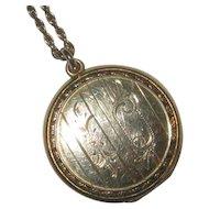 Vintage Gold-Filled Round Locket & Chain
