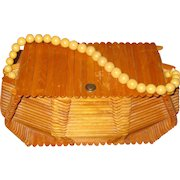Folk Art Popsicle-Stick Box Purse with Beaded Handle