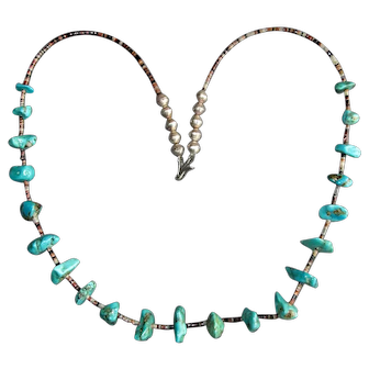Sterling & Turquoise Nugget Necklace