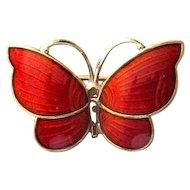Sterling Silver & Red Enamel Butterfly Pin