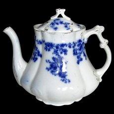 """English Flow Blue """"Rose"""" Teapot"""