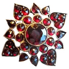 Gold-Filled Victorian Garnet Pin with Hearts