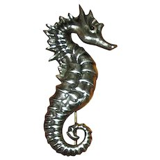 Sterling Silver Seahorse Pin with Enamel Eye