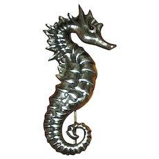 Sterling Silver Seahorse Pin with Enamel Eye