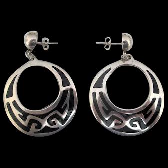 Mexican Sterling & Enamel Drop Earrings