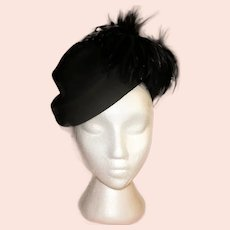 Stylish 1940's Black Hat with Ostrich Feathers
