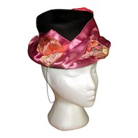 1940's Black Hat with Satin Band and Velvet Flowers