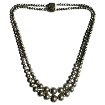 """16 1/2"""" Double Strand of Graduated Sterling Silver Beads"""
