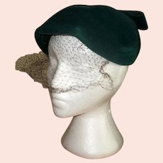 Ladies' Mid-Century Green Hat with Veil