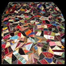 Vintage Silk & Velvet Patchwork Crazy Quilt with Embroidery