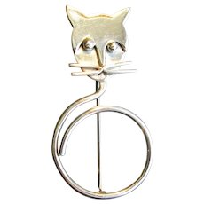 Mexican Silver Modernist Cat Pin