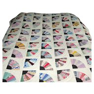 Vintage Fan Patchwork Quilt with Black Accents