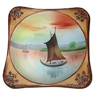 Hand-Decorated Nippon Porcelain Dish with Sailboat