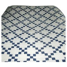 """Antique Calico """"Nine-Patch"""" Navy-Blue and White Patchwork Quilt"""