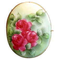 Large Hand-Painted Ceramic Pin with Three Roses