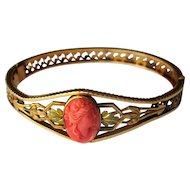 Fancy Gold-Filled Bangle Bracelet with Coral Cameo