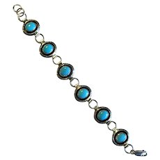 Native American Navaho Silver and Turquoise Link Bracelet