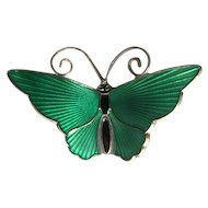Norway Sterling & Green Enamel Butterfly Pin