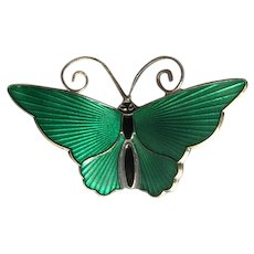 Norway Sterling & Green Enamel Butterfly Pin