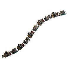 Sterling Silver and Multi-Colored Enamel Book Bracelet