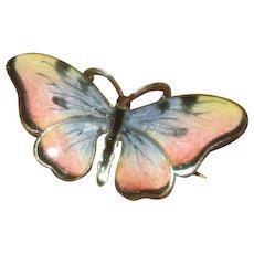 Norway Sterling & Enamel Pink & Blue Butterfly Pin