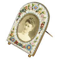 Vintage Millefiori Mosaic Picture Frame with Easel