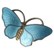 Norway Sterling & Blue Enamel Butterfly Pin
