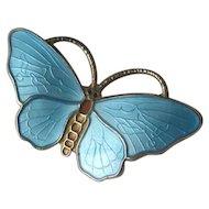 Norway Sterling & Blue Enamel Butterfly Pin