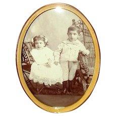 Vintage Oval Brass Tabletop Picture Frame