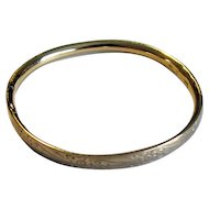 Gold-Filled Baby Bangle Bracelet with Etched Floral Design
