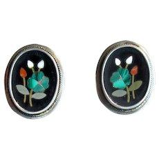 Vintage 800 Silver Petra Dura Inlay Pierced Earrings