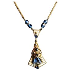 Vintage Art Deco Costume Necklace with Blue Stones