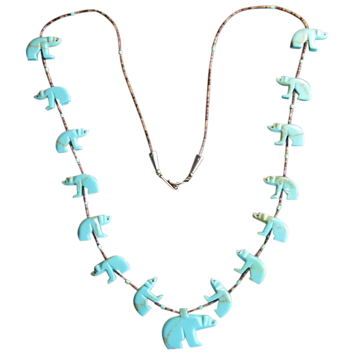 Native American tortoise shell and turquoise necklace silver beads 15
