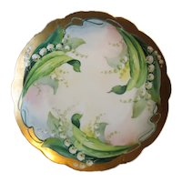 Hand Decorated Porcelain Plate with Lilies of the Valley