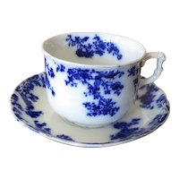 "English Flow Blue ""Progress"" Teacup and Saucer"