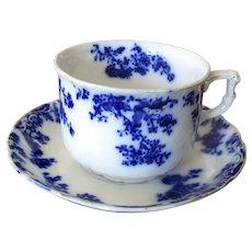 """English Flow Blue """"Progress"""" Teacup and Saucer"""