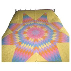 "Vintage Multi-Colored Patchwork ""Star of Bethlehem"" Quilt"