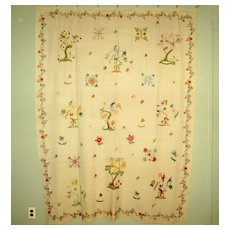 Early White Woolen Coverlet with Crewel Embroidery