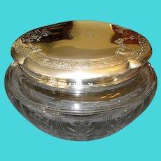 Large Cut-Crystal Vanity Jar with Gorham Sterling Top
