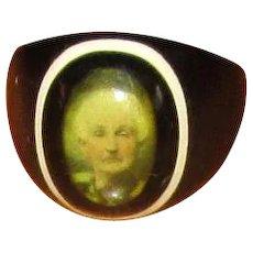 Vintage Plastic Celluloid Photograph Portrait Ring
