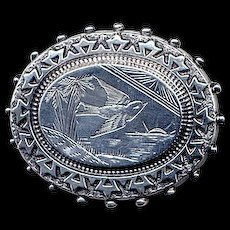 English Victorian Brooch with Etched Bird