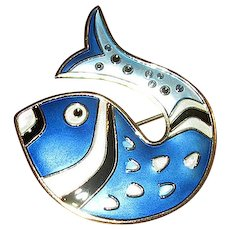 Norway Sterling and Blue Enamel D-A Fish Pin