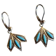 Native American Zuni Sterling & Turquoise Needlepoint Earrings