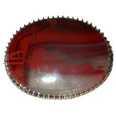 Vintage Gold-Filled Brooch with Translucent Agate Stone
